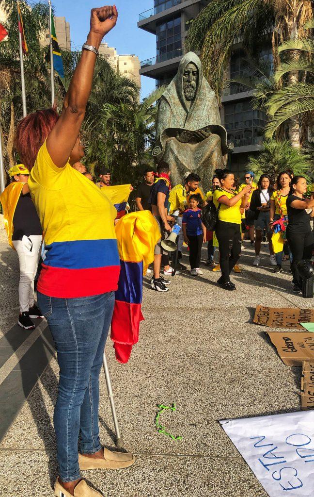 Kolumbien, Israel, Demonstration, Ramat Gan, Botschaft